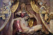 GRAZ, AUSTRIA - JANUARY 10, 2015: Altar of Our Lady of Sorrows, Franciscan Church in Graz, Styria, Austria on January 10, 2015.