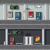Flat Dwsign Of Underground Subway