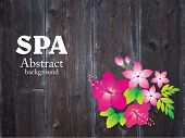 Spa background with hibiscus flower. Vector.