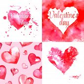 Set of  watercolor Valentines day greeting card illustration with hearts