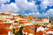 Lisbon, Portugal old town skyline in the Alfama district.