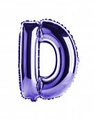 Purple foil balloon letter part of full set in the shape of a capitol D