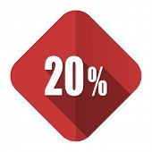 20 percent flat icon sale sign