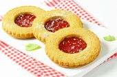 stock photo of linzer  - Round Linzer cookies made from whole wheat flour - JPG