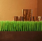 Close up detail view of a home wooden table with an elegant and decorative vases