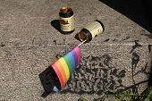 PRAGUE, CZECH REPUBLIC - AUGUST 17, 2013: Rainbow flag inserted in the empty beverage can after the Rekorderlig Cider seen during the Prague Gay Pride Festival in Prague, Czech Republic.
