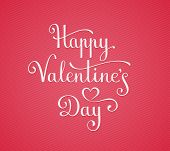 Template for Happy Valentine's Day Card. Hand lettering vector illustration