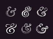 Hand lettering ampersands. Vector illustration