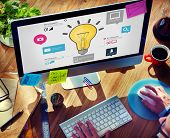 stock photo of creativity  - Ideas Inspiration Creativity Biz Infographic Innovation Concept - JPG