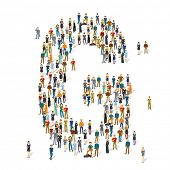 People crowd. Vector ABC, letter G