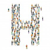 People crowd. Vector ABC, letter H