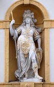 GRAZ, AUSTRIA - JANUARY 10, 2015: Minerva, Roman goddess of wisdom and sponsor of arts, trade, and strategy, Arsenal (Zeughaus) historic center listed as World Heritage by UNESCO in Graz, Austria