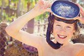 Smiling boy wearing mask and snorkel. Instagram effect