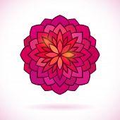 Round flower design element, Circular ornament, Vector
