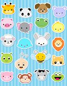 stock photo of cute animal face  - Cute animal face sticker collection specially for kids - JPG
