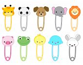 stock photo of pig head  - Cute animal safety pin collection with colorful animal heads - JPG