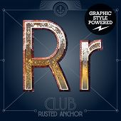 Vector font set of rusted letters. Old school vintage yacht club. Letter R