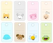 stock photo of cute animal face  - Colorful gift tags  - JPG
