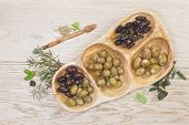 stock photo of kalamata olives  - Variety of green - JPG