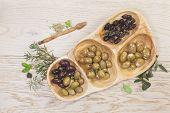 stock photo of kalamata olives  - Variety of green - JPG