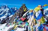 mountain scenery from gokyo ri with prayer flags. Nepal