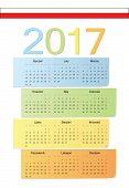 Polish 2017 Vector Color Calendar.