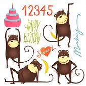 Monkey Fun Cartoon in Poses with Birthday Lettering