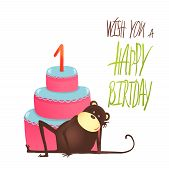 Monkey Cake One Years Old with Happy Birthday Lettering