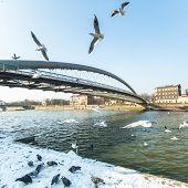 KRAKOW, POLAND - FEB 7, 2015: Footbridge Ojca Bernatka - bridge over the Vistula River, Sep 4, 2013 in Krakow, Poland. Bridge is 145 meters /700 tons, cost of its construction is more than 38 mil.