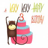 pic of cake stand  - Funny monkey standing with cake - JPG