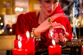 stock photo of oracle  - Fortuneteller or esoteric Oracle - JPG