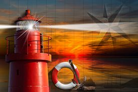stock photo of anchor  - Red metallic lighthouse with light beam at sunset with clouds lifebuoy compass rose rusty anchor and sailing ship - JPG
