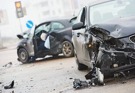 picture of warning-signs  - car crash accident on street - JPG