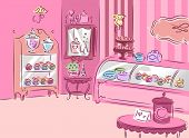 pic of girly  - Illustration of a Cute and Girly Patisserie Covered with Pink Furniture - JPG