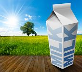 foto of milk  - White packaging of fresh milk with text Milk in a countryside landscape with green grass and a tree on blue sky with clouds and sun rays - JPG