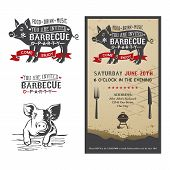 stock photo of pig  - Invitation card to the barbecue party with a silhouette of a pig - JPG