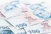 stock photo of turkish lira  - Close up view of one hundred Turkish lira banknotes - JPG