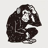 stock photo of orangutan  - Orangutan Monkey Doodle - JPG