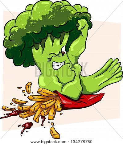 Broccoli vs French fries, healthy food vs fast food, competition  poster