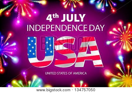 Fireworks Background For 4Th Of July Independense Day. Fourth Of July Independence Day Card. Indepen