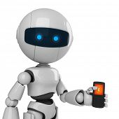 Funny robot with mobile phone
