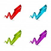 Vector 3d shiny arrows graph set