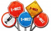 e = mc2, 3D rendering, rough street sign collection poster