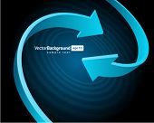 Two blue graph arrows swirl vector background