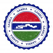 Постер, плакат: Gambia Map And Flag In Vintage Rubber Stamp Of State Colours Grungy Travel Stamp With Map And Flag