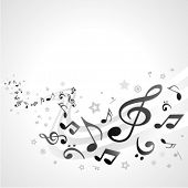 Music background with fly black notes. Eps 10