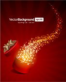 Christmas vector background with open gift