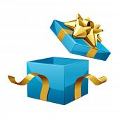 foto of lilas  - Vector open gift box with glossy gold bow - JPG