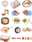 picture of frozen tv dinner  - Collection of Chicken Themed Items Isolated on White - JPG
