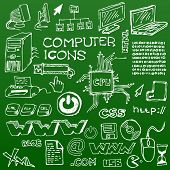 Set of white hand-drawn computer icons on green background